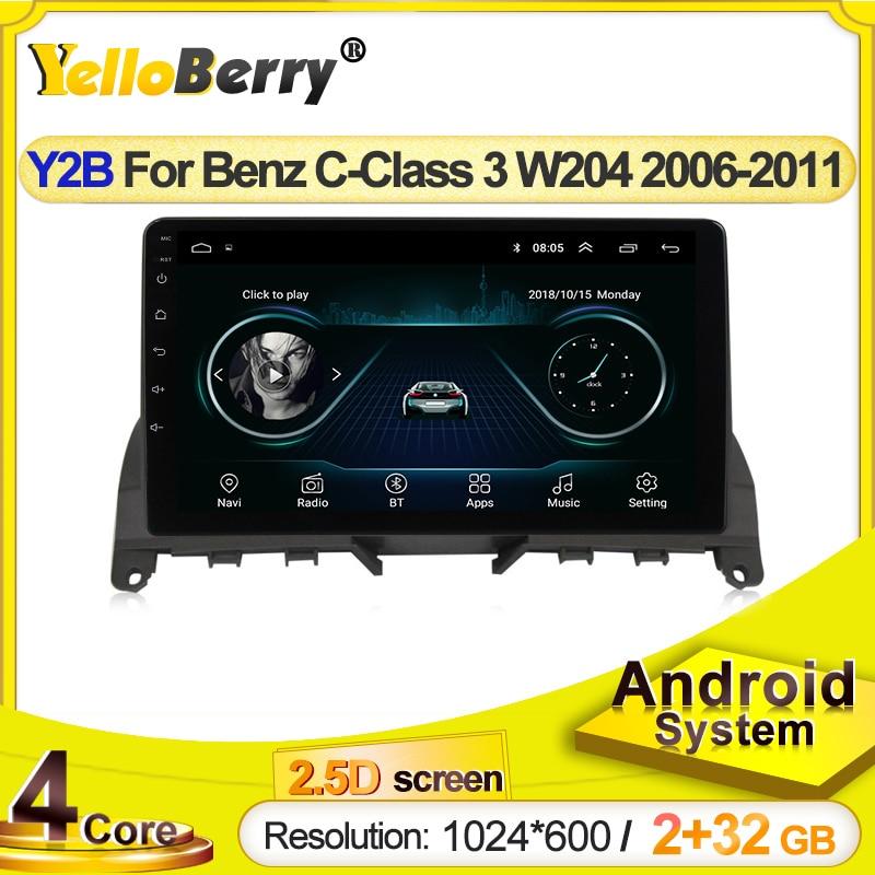 Система мультимедийная Автомобильная HD 1024x600, Android, GPS-навигация, стерео для Mercedes Benz C Class 3 W204 S204 2006 - 2011