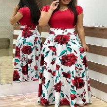 Plus Size Women's Summer Print Stitching Flower Long Banquet Dress 2021 Bodycon Dress Elegant Sexy Woman Super Long Dress