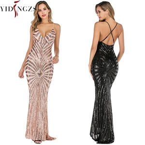 Image 3 - YIDINGZS  Mermaid Gold Sequins Evening Dress Straps Party Sexy Vestido De Festa Long Prom Gown YD19009