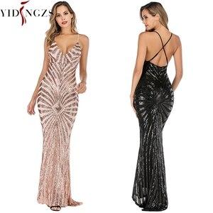 Image 3 - YIDINGZS robe De soirée style sirène, bretelles, en paillettes dorées, Sexy, robe longue De bal, YD19009