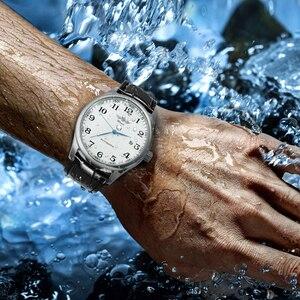 Image 5 - ساعة يد آلية للأعمال الموضة للرجال بحزام جلدي ساعات يد ميكانيكية للرجال ساعة بتقويم وتاريخ من montre homme WINNER