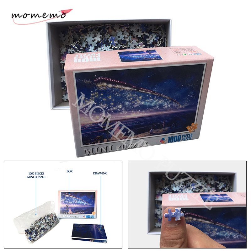 MOMEMO Trains In The Star Sky Puzzle 1000 Pieces Fantasy Landscape Wooden Jigsaw Puzzles Toys For Adults Kids Educational Toys