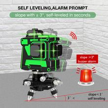 360° Rotation Laser Level 12 Lines 3D Self-Leveling Horizontal Vertical Cross 5800mAh Rechargeable Green Laser Beam Line 7
