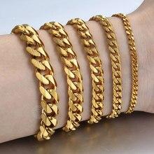 Bracelet chaîne cubaine en acier inoxydable pour femme et homme, bijoux tendance, couleur or, argent, vente en gros, KBB10