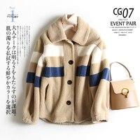 Women's Coat lambswool Winter Patchwork Blends Women Wool Jacket Thickened Warm Female Woolen Coats Lady Outwear 2019 New khaki