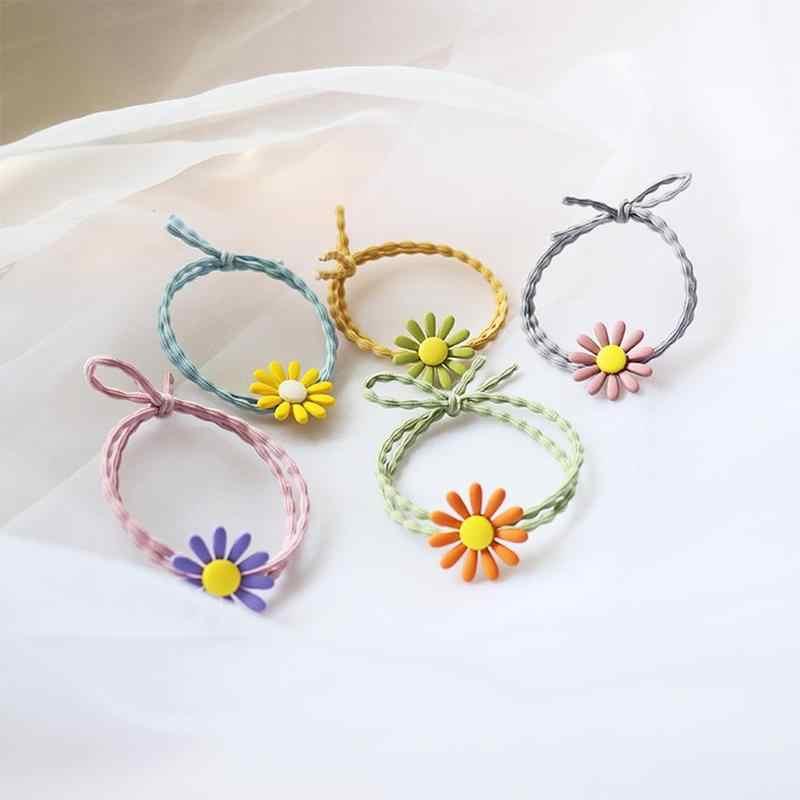 1pc 新小さな菊ヘッドロープの花のヘアリング小新鮮なネクタイ弾性バンドシンプルなボールヘアアクセサリー髪のロープ