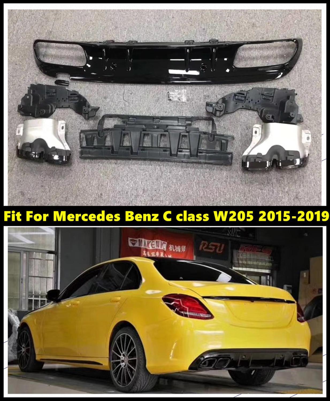 Auto Hinten Stoßstange Diffusor Mit Schwarz/Silber Auspuff Rohre Fit Für Mercedes Benz C-klasse W205 C63s Stil c200 C300 2015-2019