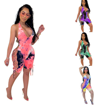 Tie Dye Biker Shorts Playsuits Women V Neck Backless Sexy Rompers Lace Up Bodycon Sleeveless Summer Playsuit black deep v neck sleeveless backless zip design playsuits
