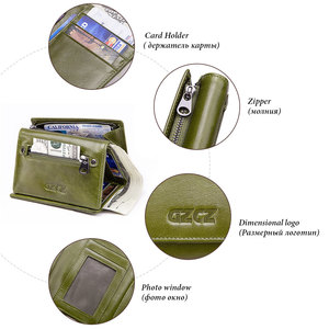 Image 2 - GZCZ אמיתי עור Slim ארנק נשים Portafoglio דונה מטבע ארנק נשים Walet נשי Portomonee רוכסן עיצוב RFID חסימת