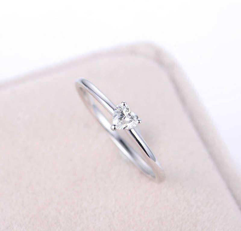 かわいいハート愛女性ジルコン石リングシルバー 925 ウェディングジュエリー約束婚約指輪女性のためのバレンタインデーのギフト r222