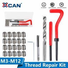 Kit de ferramentas de reparo de rosca xcan 25 pces m3/m4/m5/m6/m7/m8/m10/m12/14 para restaurar o kit de broca de torção de chave inglesa de rosca danificada