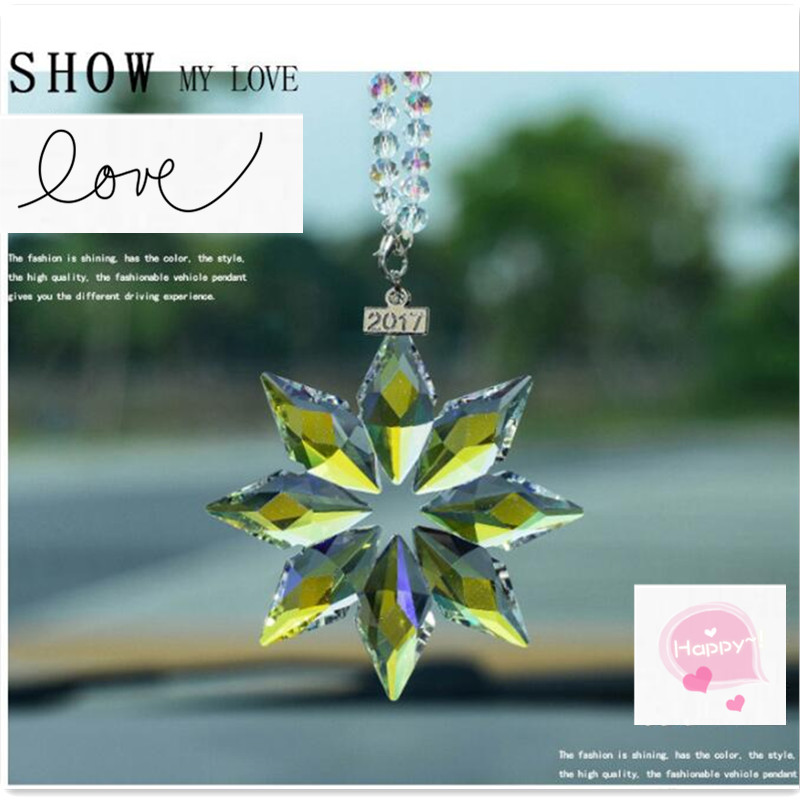 Car Pendant Transparent Crystal Snowflakes Decoration for ford kuga <font><b>corolla</b></font> <font><b>e150</b></font> <font><b>toyota</b></font> camry 70 audi q3 chevrolet cruze vw t5 image