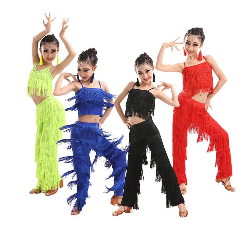 Children's Latin Dance Jazz  Costumes Girls Latin Dance Competition Tassel Suit Dance Clothes Ballroom Dance Dresses