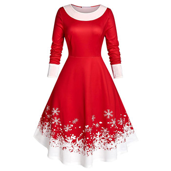 NEW Fashion Plus Size Women Vintage Christmas Snowflake Print Velvet Party Long Sleeve Dress Skirts Женское Платье L-5XL
