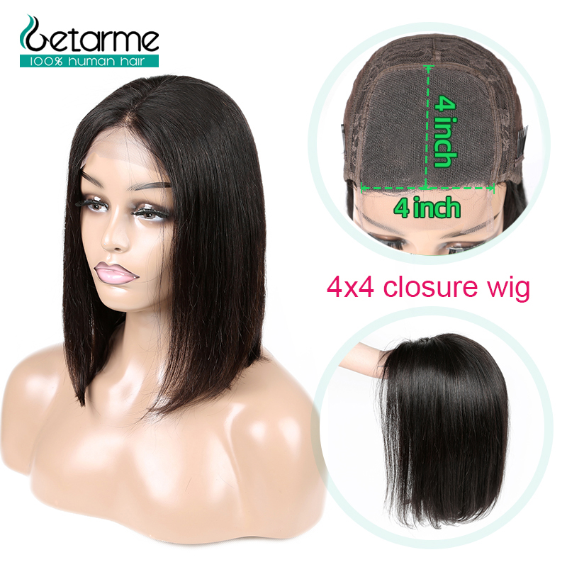 Image 1 - 4x4 Closure Wig Peruvian Short Bob Wigs Lace Closure Human Hair Wigs For Black Women Straight Lace Wig Pre Plucked Non Remy Hair-in Lace Front Wigs from Hair Extensions & Wigs