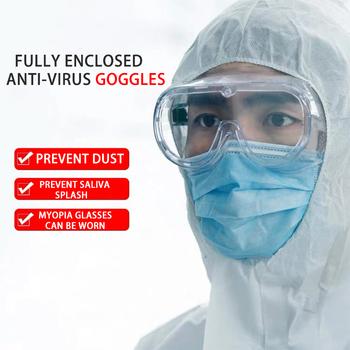 Całkowicie zabudowana gogle zapobiegają wirusowi ślina okulary pyłoszczelne okulary okulary ochronne jasne okulary okulary rowerowe tanie i dobre opinie Jazda na rowerze