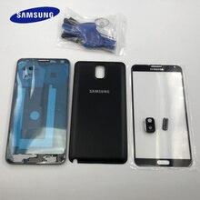 Note3 capa moldura moldura para smartphone, cobertura frontal, lcd e frontal, para samsung galaxy note 3 n9005 n9006 n900 vidro + porta da bateria