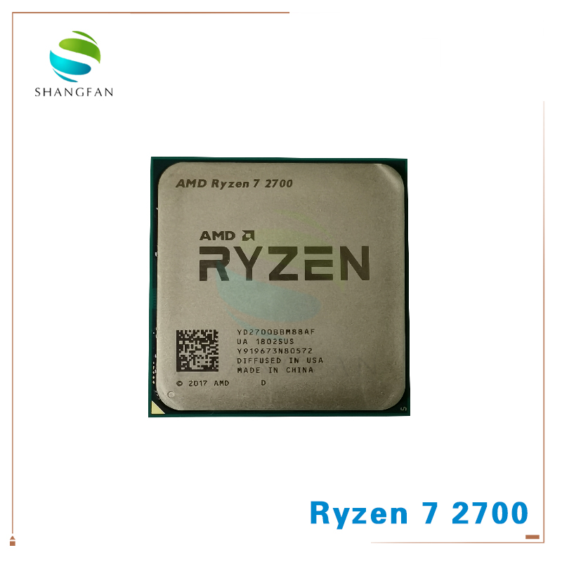 New AMD Ryzen 7 2700 R7 2700 3.2 GHz Eight-Core Sinteen-Thread 16M 65W CPU Processor YD2700BBM88AF Socket AM4
