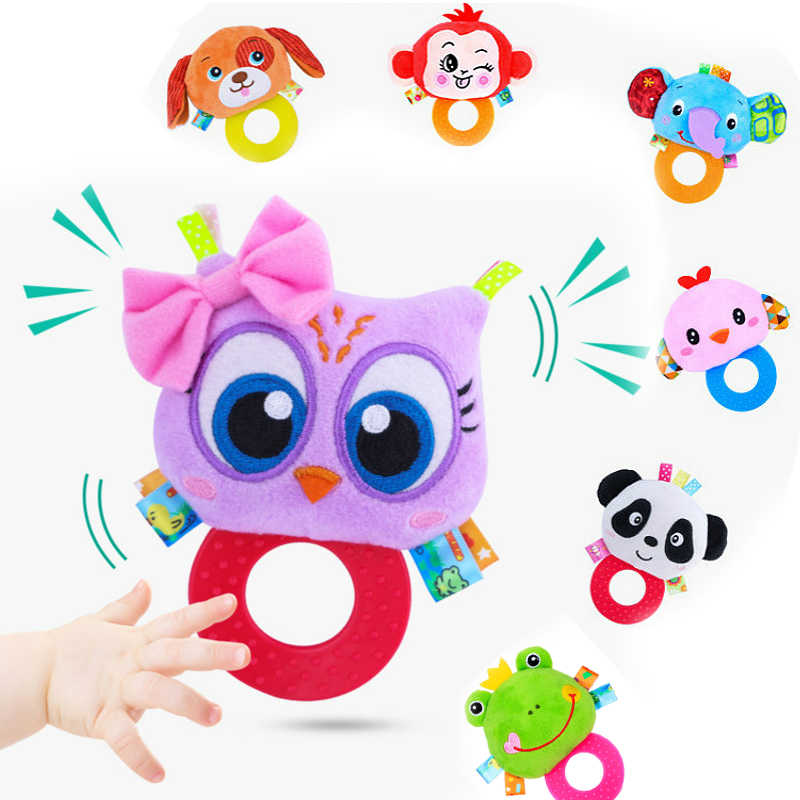 Infant Baby Animal Hand Bells Teether Baby Toddler Rattles Toys Owl Monkey Panda Lion Dog Infant Newbron Early Education Toys