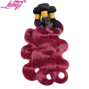 Image 3 - Brazilian hair Weave 3 bundles Burgundy Body Wave Ombre Bundles With Closure T1B/99j Human Hair Blonde bundles With Closure