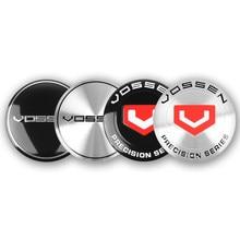 4 pçs 56mm liga de alumínio do carro roda centro hub tampas emblema de alumínio adesivo para vossen estilo do carro acessório
