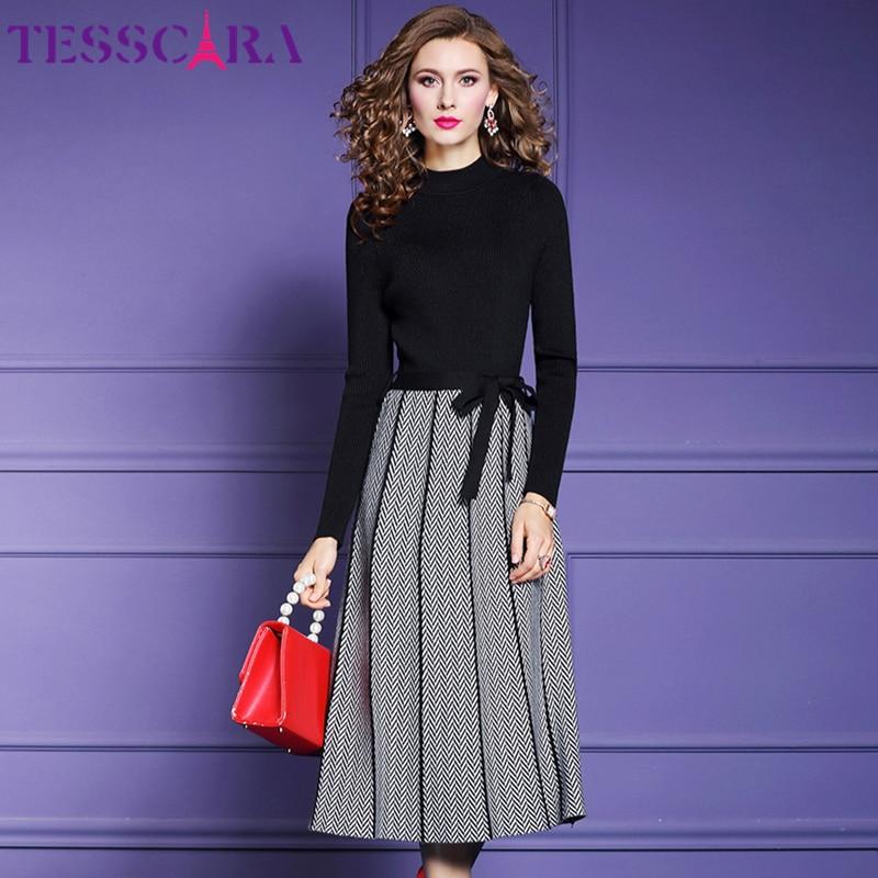 TESSCARA-vestido de otoño e invierno para mujer, Jersey elegante, Túnica de alta calidad inspirada en celebraciones, para oficina y fiesta