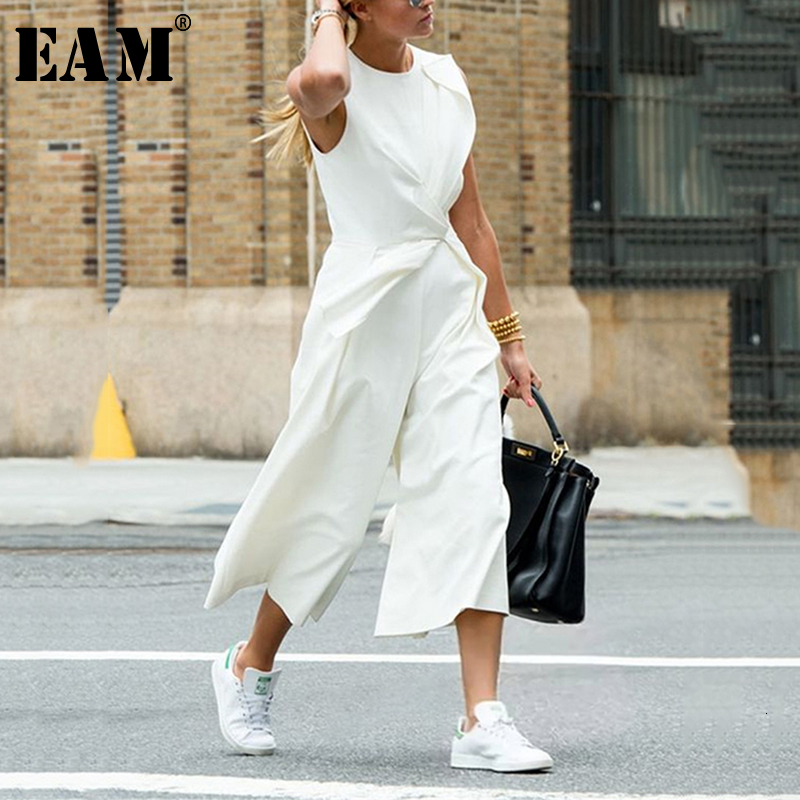 [EAM] Loose Fit Spliced White Temperament Women Jumpsuit New High Waist Pocket Stitch Pants Fashion Spring Autumn 2020 1H117