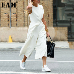 [EAM] Loose Fit Spliced White Temperament Women Jumpsuit New High Waist Pocket Stitch Pants Fashion Spring Autumn 2020 1H117