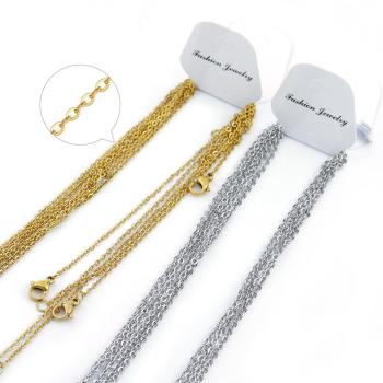 Louleur 5pcs/lot Chains Necklace 2mm Men Women Gold/Steel Stainless Steel Link Cuban Chain Necklaces For Jewelry DIY Wholesale granny chic 12 15 17 19mm fashion curb cuban mens necklace chain silver gold stainless steel necklaces for men jewelry 7 40 inch