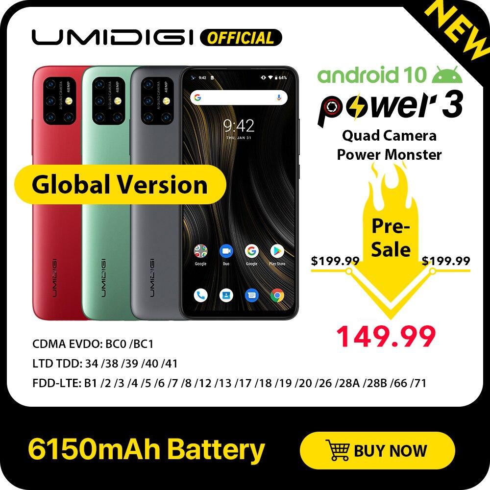 "UMIDIGI Power 3 Android 10 48MP Quad AI Camera 6150mAh 6.53"" FHD+ 4GB 64GB Helio P60 Global Version Smartphone NFC Pre-sale"