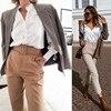 Office Lady Black Suit Pants with Belt Women High Waist Solid Long Trousers Fashion Pockets Pants Trousers Pantalones 6