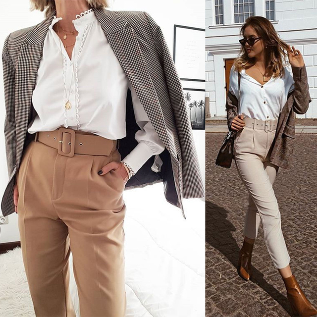 Aachoae Office Lady Black Suit Pants with Belt Women High Waist Solid Long Trousers Fashion Pockets Pants Trousers Pantalones