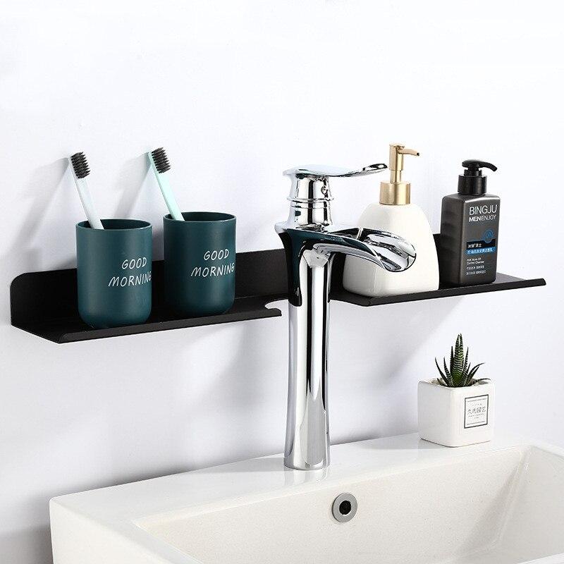 LIUYUE Bathroom Shelf Aluminum Black Bathroom Basin Square Rack Wall-mounted Toothbrush Cup Shelf Dressing Rack Storage Rack