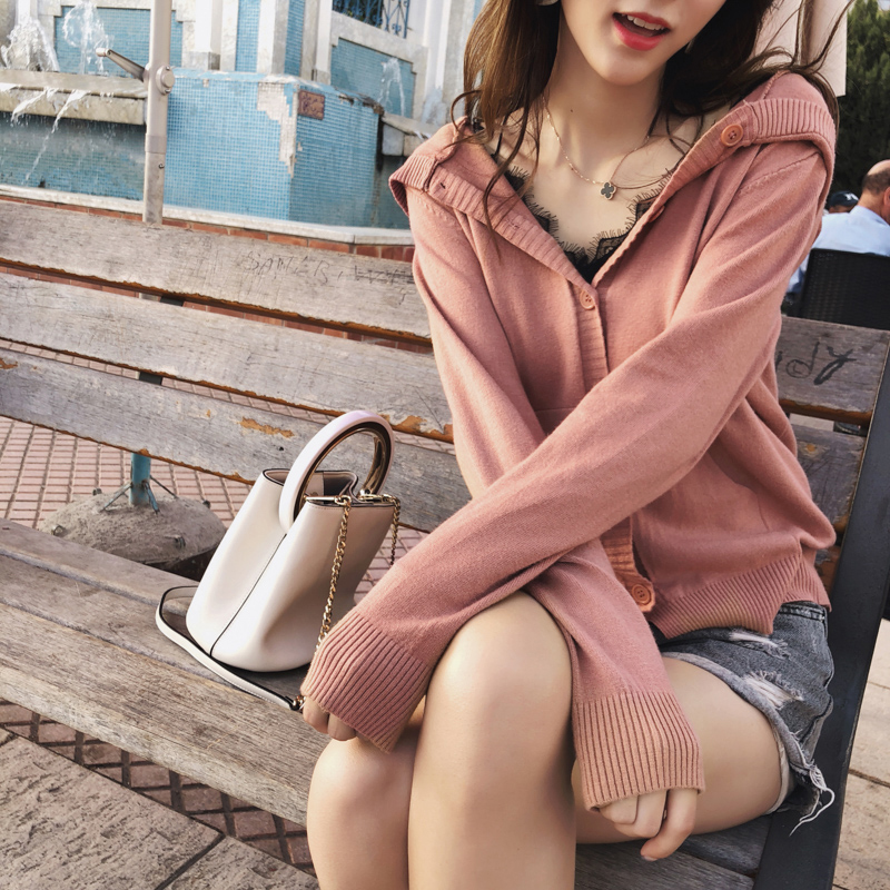 2019 MISHOW Autumn Chic Style Daily Causal Knitted Coat Women Long Sleeve Single-breasted With Hat Knit Cardigan MX18C6249