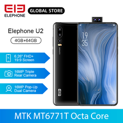 ELEPHONE U2 смартфон Helio P70, Восьмиядерный, 4 Гб 64 ГБ, 16 Мп, всплывающая фронтальная камера 6,26 дюйм, FHD + экран, боковой отпечаток пальца, Android 9,0