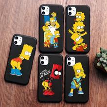 цена на PUNQZY Black Matte Comics Simpsons Phone Case For SamSung A50 A70 S11 S10 e S9 PLUS Homer J Simpson Funny Bart Coque Cartoon