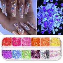 Fluorescência borboleta coração frutas várias formas arte do prego glitter flocos 3d colorido lantejoulas polonês manicure decoração do prego