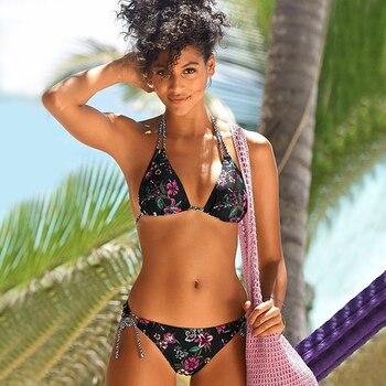 Fashion Bikini Set Women Swimsuit Biquini Sexy Swimwear beach bathing suit Print Floral Beach Wear Bandage Summer Bather - discount item  50% OFF Swimwears