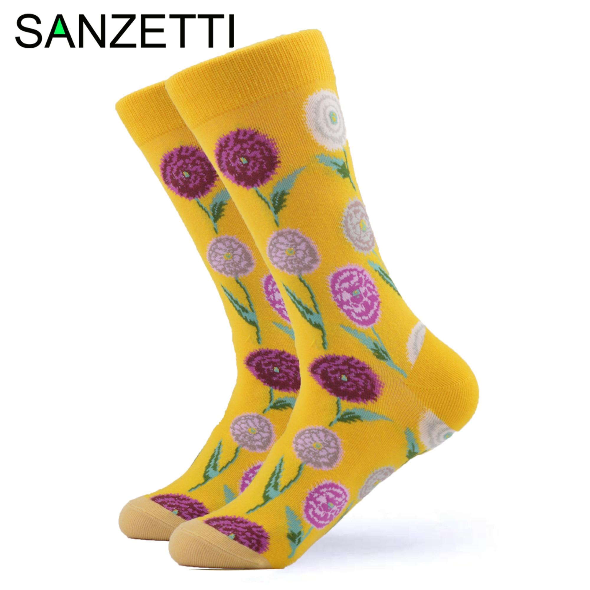 SANZETTI 1 Pair Happy Socks High Quality Men Colorful Combed Cotton Fresh Flowers Coconut Tree Gift Pattern Wedding Dress Socks