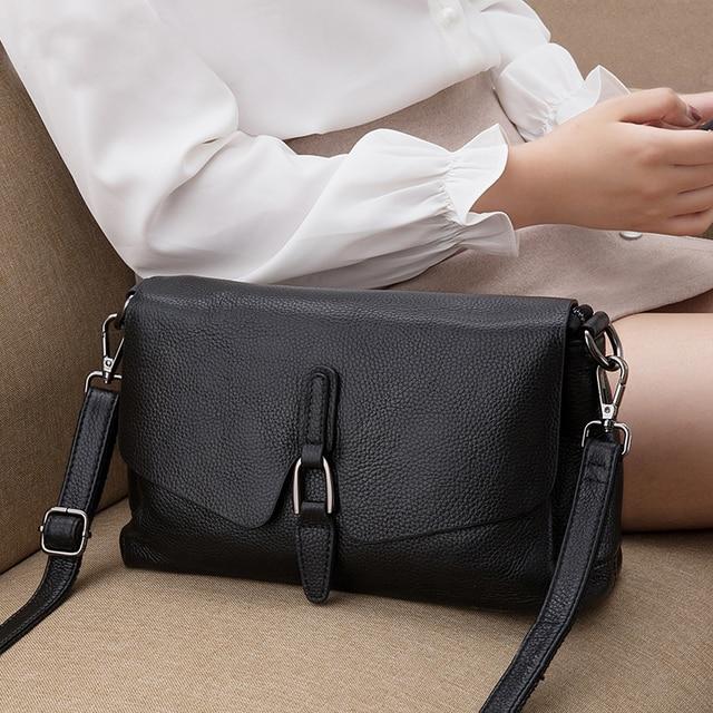 Bolsa de couro legítimo pendurado, bolsa feminina modelo carteiro com aba