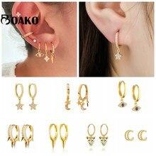 Pendientes de plata de ley 925 para mujer oro pendientes contra el mal de ojo pequeño aro hueso del oído Aretes regalo Spike pendientes circón