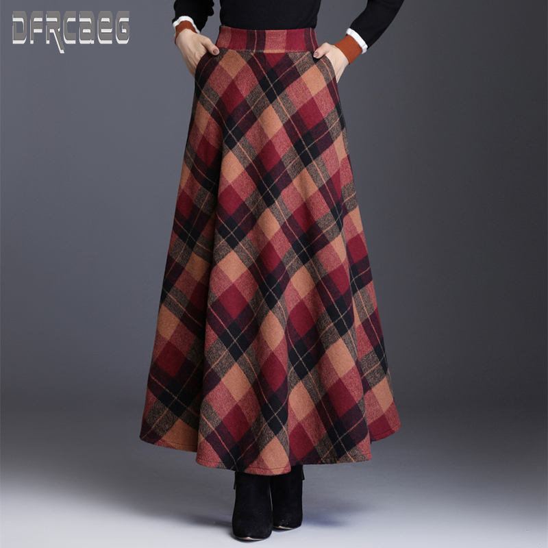 Woolen-Skirt Pockets Elastic-Waist Plaid Elegant Autumn Long Winter Women's Casual New