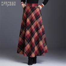 Новая Осенняя элегантная клетчатая Женская Длинная шерстяная юбка с эластичной резинкой на талии с подкладкой 2019 зимняя женская юбка с карманами Повседневная шерстяная юбка