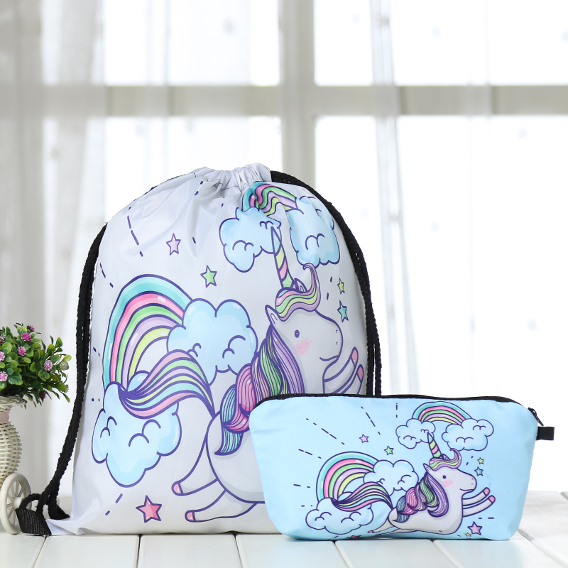 Drawstring Suit Backpack Drawstring Bags Fashion Pouch Unicorn Printing  Men Casual Bags Unisex Women's Shoulder Bag Factory New