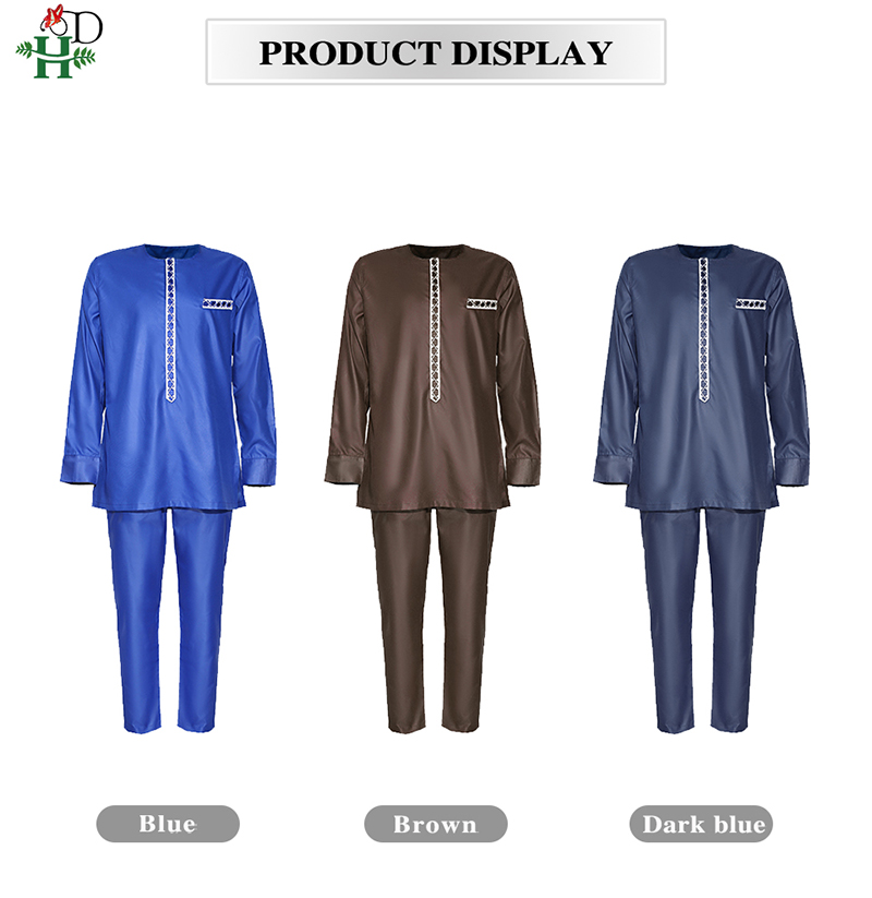 H&D Men's Dashiki Shirt Pants Suit Plus Size Men African Clothes Long Sleeve Top With Trouser Set 2PC Outfit Embroidery Attire 6