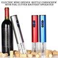 Bateria seca abridores de vinho elétrico com luz abridor de garrafa automático saca-rolhas com cortador de folha e ferramentas de cozinha de rolha a vácuo