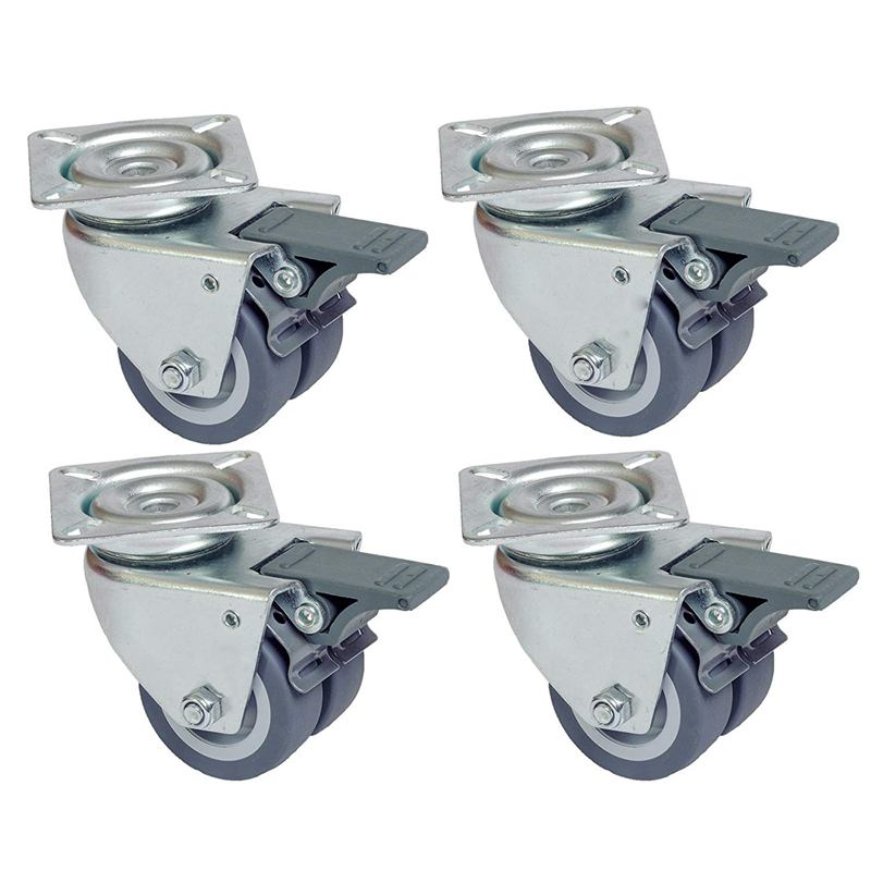 4 pieces beach casters, double wheels suitable for turf with brake, capacity 400 kg