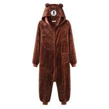 Unisex Bear Kigurumis Zipper Animal Onesie Women Men Adult Couple Funny Jumpsuit Flannel Warm Soft Cartoon Winter Sleepwear