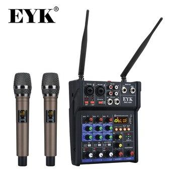 EYK Mixer Audio Stereo microfoni Wireless UHF integrati Console di missaggio a 4 canali con effetto USB Bluetooth per chitarra DJ Karaoke PC