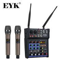 Mezclador de audio estéreo EYK, micrófonos inalámbricos UHF integrados, consola mezcladora de 4 canales con Bluetooth, USB, efecto para DJ Karaoke PC Guitar